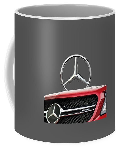 'auto Badges' By Serge Averbukh Coffee Mug featuring the photograph Red Mercedes - Front Grill Ornament And 3 D Badge On Black by Serge Averbukh