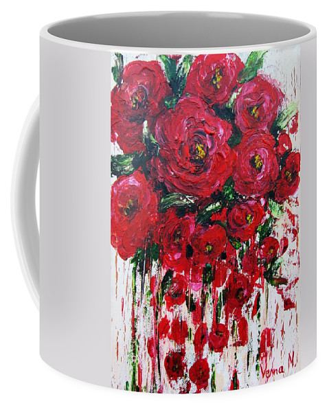 Flowers Coffee Mug featuring the painting Red Roses by Vesna Martinjak