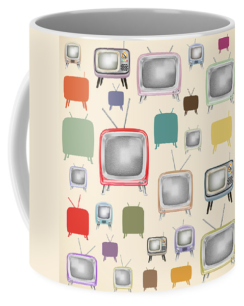 Analog Coffee Mug featuring the painting retro TV pattern by Setsiri Silapasuwanchai