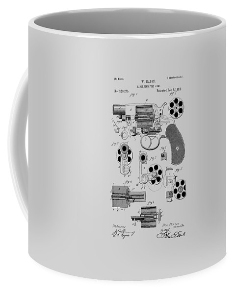 Revolver Coffee Mug featuring the photograph Revolving Fire Arm Patent 1881 by Chris Smith