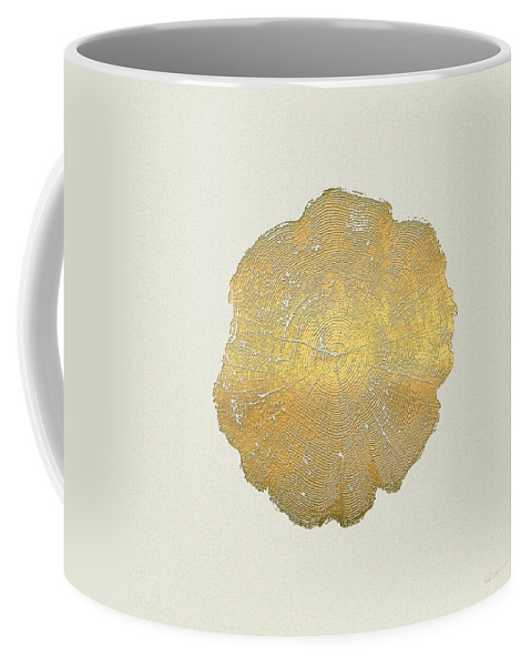 Inconsequential Beauty By Serge Averbukh Coffee Mug featuring the photograph Rings of a Tree Trunk Cross-section in Gold on Linen by Serge Averbukh