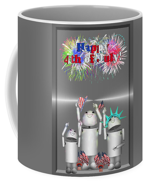 Coffee Mug featuring the mixed media Robo-x9 Celebrates Freedom by Gravityx9 Designs