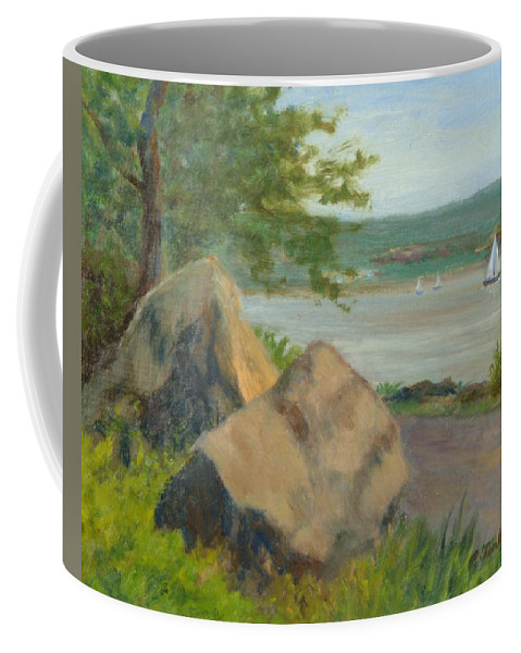Oil Landscape Coffee Mug featuring the painting Rocks Along The Nyack Trail by Phyllis Tarlow