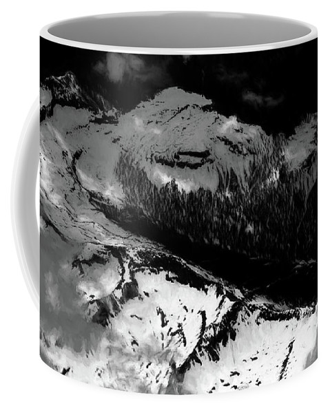 Rocky Mountains Coffee Mug featuring the photograph Rocky Mountains In Colorado With Snow Aerial Black And White by David Oppenheimer