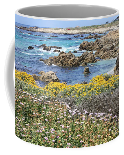 California Coffee Mug featuring the photograph Rocky Surf With Wildflowers by Carol Groenen