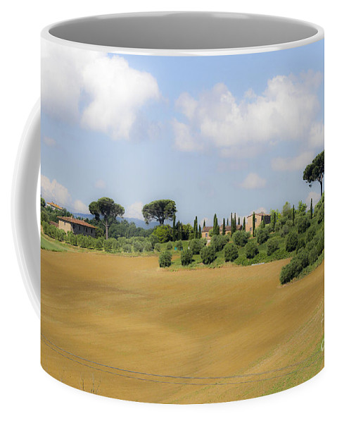 Green Coffee Mug featuring the photograph Rolling Green Hills With Trees by Vladi Alon