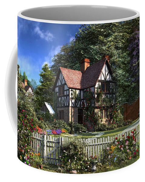 Cottage Coffee Mug featuring the digital art Roses House by Dominic Davison