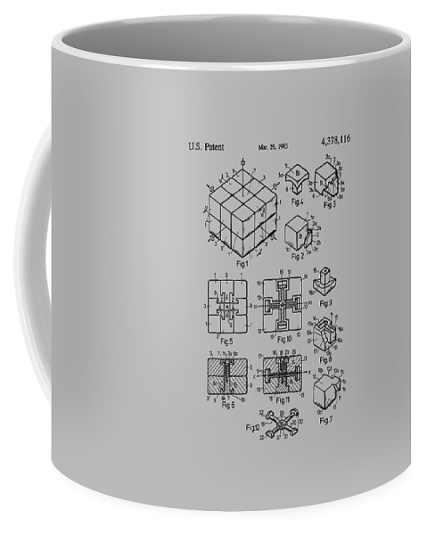 Rubik's Cube Coffee Mug featuring the photograph rubik's cube Patent 1983 by Chris Smith