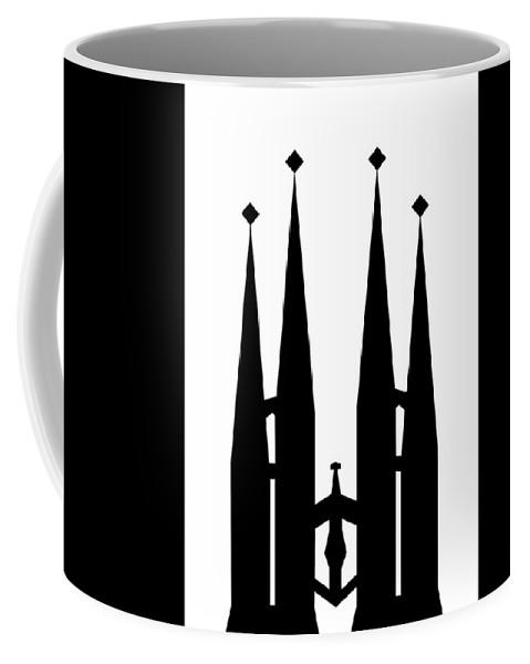 Coffee Mug featuring the mixed media Sagrada Familia by Asbjorn Lonvig