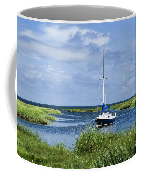 Cape Cod Coffee Mug featuring the photograph Sailboat Salt Marsh by John Greim