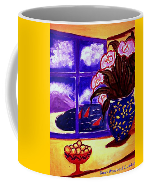 Contemporary Coffee Mug featuring the painting Sailing By by Rusty Gladdish