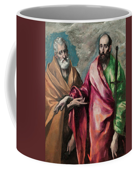 Apostle Coffee Mug featuring the painting Saint Peter And Saint Paul by El Greco