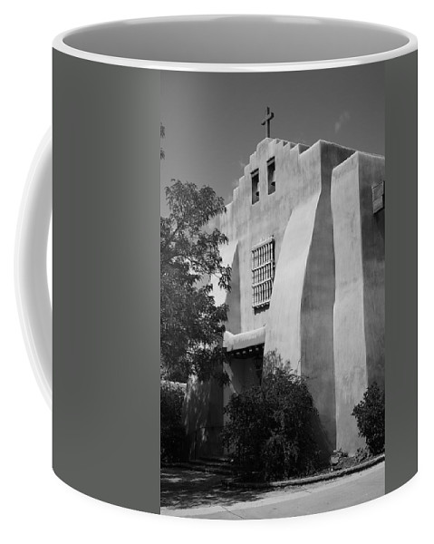 66 Coffee Mug featuring the photograph Santa Fe - Adobe Church by Frank Romeo