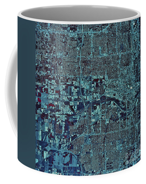 Color Image Coffee Mug featuring the photograph Satellite View Of Oklahoma City by Stocktrek Images