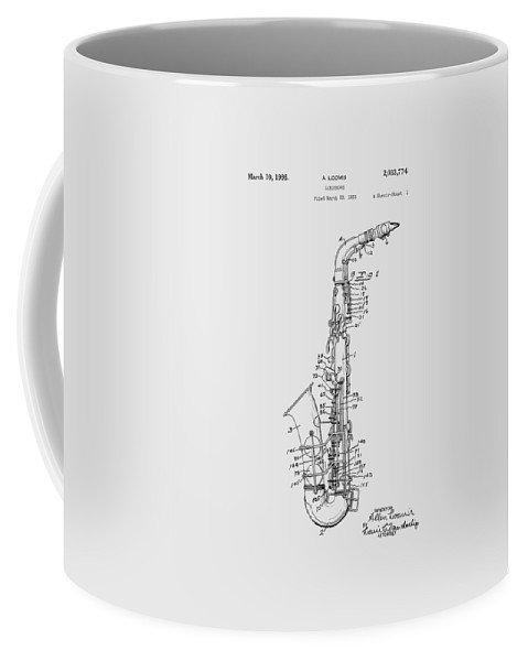 Saxophone Coffee Mug featuring the photograph Saxophone Patent Drawing From 1933 by Chris Smith