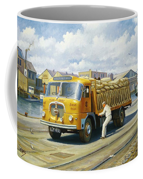 \art For Investment\ Coffee Mug featuring the painting Seddon At Poole Docks. by Mike Jeffries