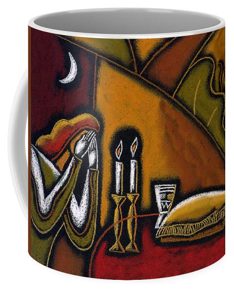 Shabbos Shabbat Shalom Candles Candelabra Chalah Jewish Judaica Kidush Cup  Coffee Mug featuring the painting Shabbat Shalom by Leon Zernitsky