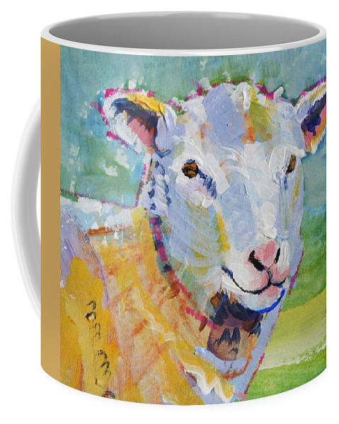 Sheep Coffee Mug featuring the drawing Sheep Head by Mike Jory