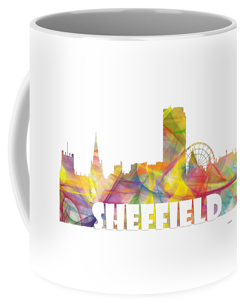 Sheffield England Skyline Coffee Mug featuring the digital art Sheffield England Skyline by Marlene Watson