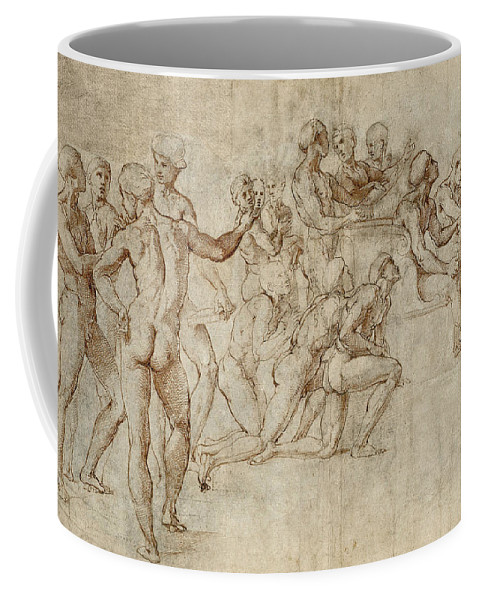 Raphael Coffee Mug featuring the drawing Sketch For The Lower Left Section Of The Disputa by Raphael