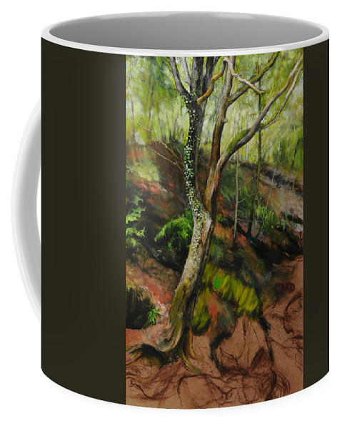 Landscape Coffee Mug featuring the painting Sketch Of A Treetrunk by Harry Robertson