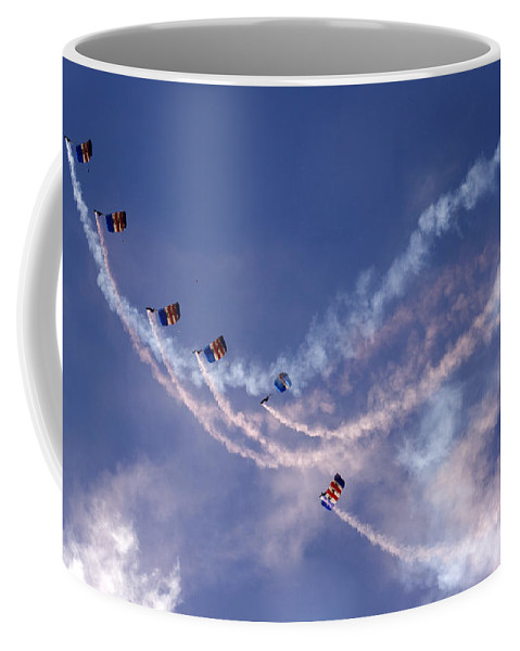Raf Falcons Coffee Mug featuring the photograph Sky Surfers by Angel Ciesniarska