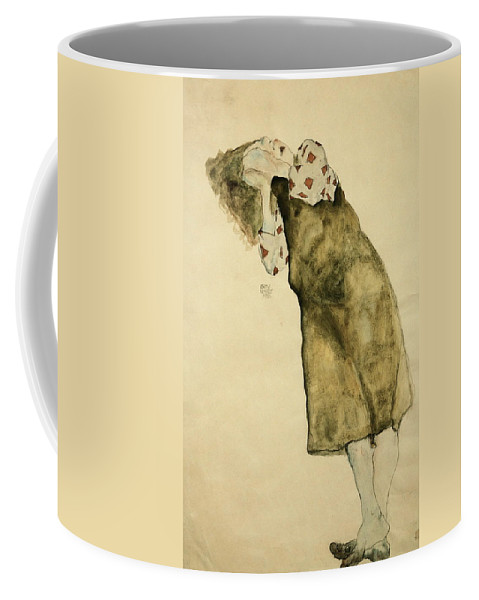 Egon Schiele Coffee Mug featuring the drawing Sleeping Girl by Egon Schiele