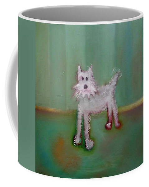 White Puppy Coffee Mug featuring the painting Snowy by Charles Stuart