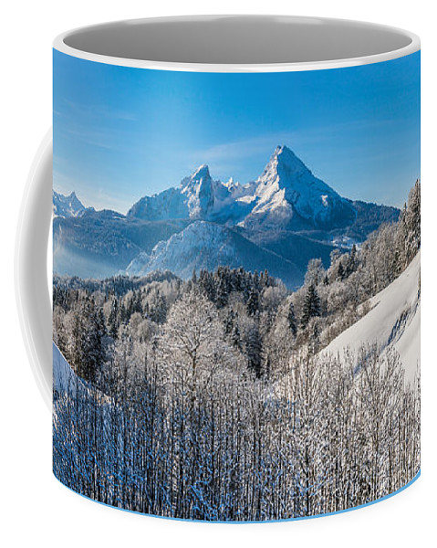 Alpen Coffee Mug featuring the photograph Snowy Church In The Bavarian Alps In Winter by JR Photography