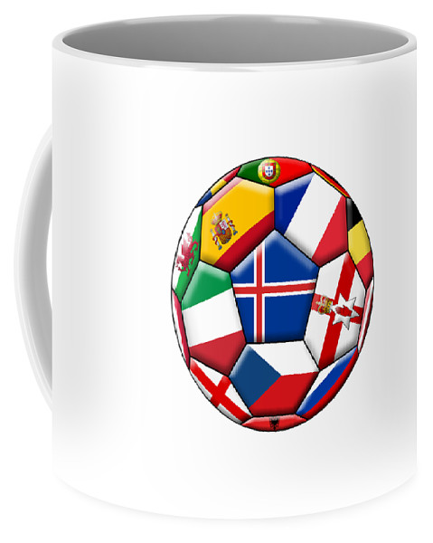 Europe Coffee Mug featuring the digital art Soccer Ball With Flag Of Iceland In The Center by Michal Boubin