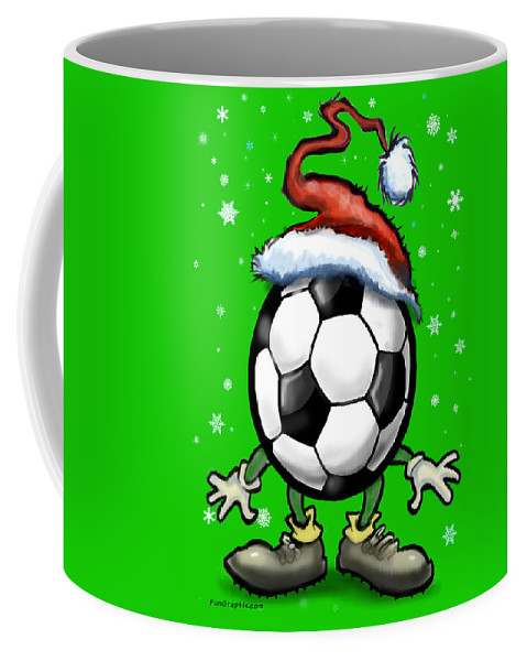 Soccer Coffee Mug featuring the greeting card Soccer Christmas by Kevin Middleton