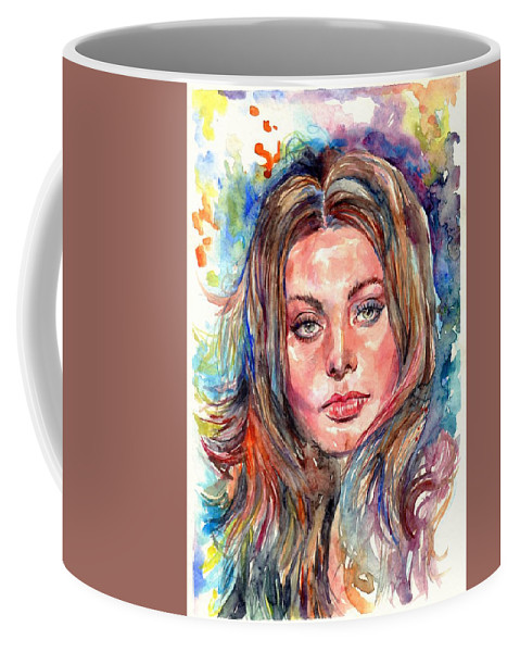 Sophia Coffee Mug featuring the painting Sophia Loren Painting by Suzann Sines