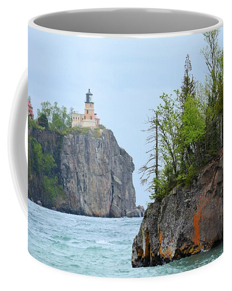 Lighthouse Coffee Mug featuring the photograph Split Rock by Bonfire Photography