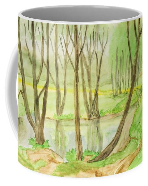 Art Coffee Mug featuring the painting Spring Landscape, Painting by Irina Afonskaya