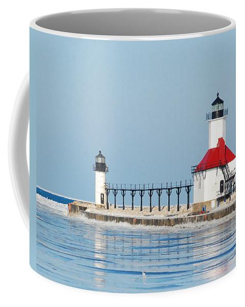 Advisory Coffee Mug featuring the photograph St Joseph North Pier Lights by Michael Peychich