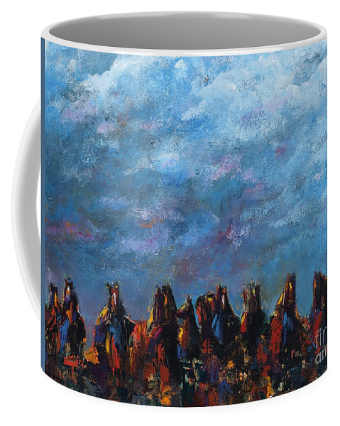 Horses Coffee Mug featuring the painting Stampede by Frances Marino