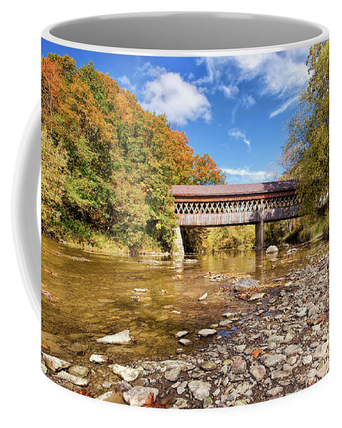 Landscape Coffee Mug featuring the photograph State Road Covered Bridge by Marcia Colelli