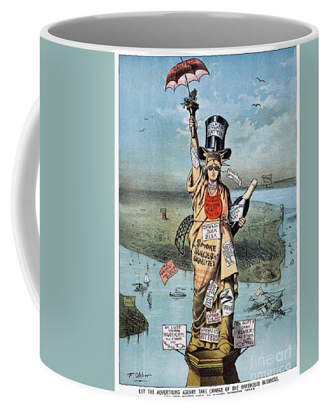19th Century Coffee Mug featuring the photograph Statue Of Liberty Cartoon by Granger