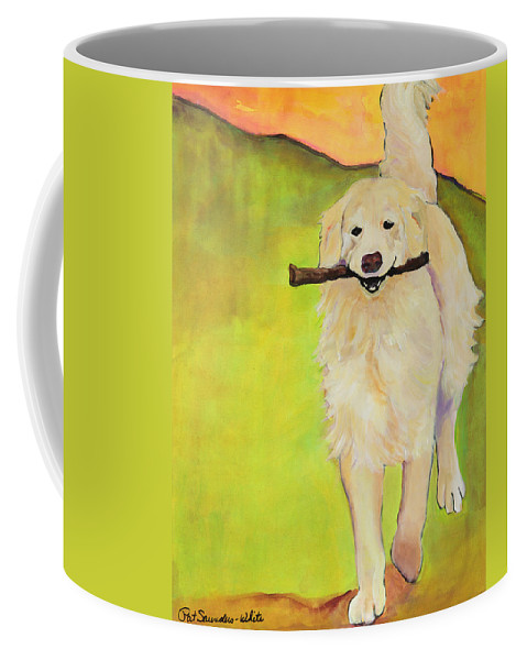 Dog Portraits Coffee Mug featuring the painting Stick Together by Pat Saunders-White
