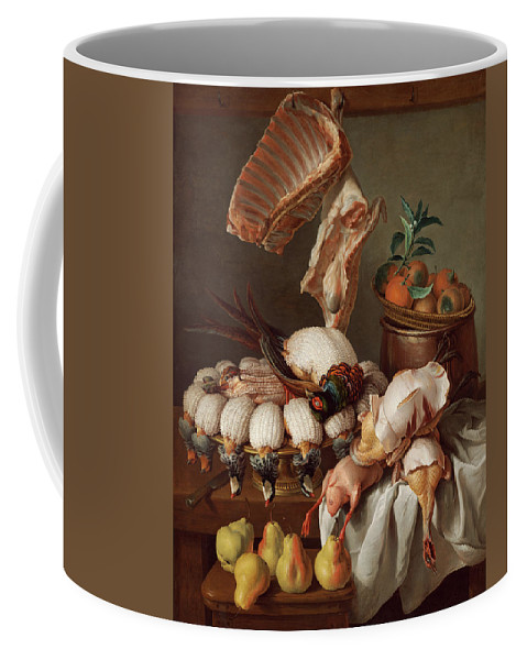 Dining Room Coffee Mug featuring the painting Still Life With Dressed Game, Meat And Fruit by Alexandre-Francois Desportes