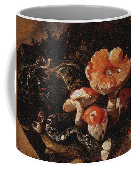 Still Life Coffee Mug featuring the painting Still Life With Serpents, Fly Agarics And Thistles by Paolo Porpora