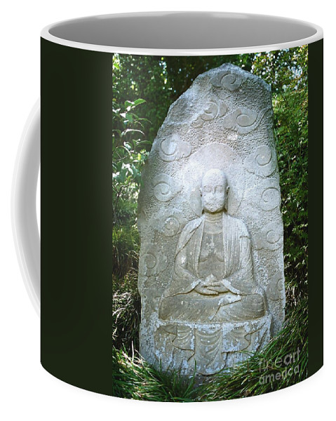Stone Coffee Mug featuring the photograph Stone Buddha by Dean Triolo