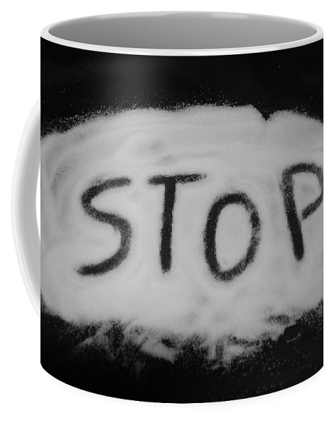Black And White Coffee Mug featuring the photograph Stop by Rob Hans