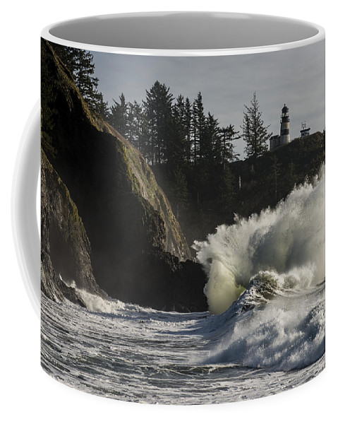 Cape Disappointment Coffee Mug featuring the photograph Storm Surf by Robert Potts