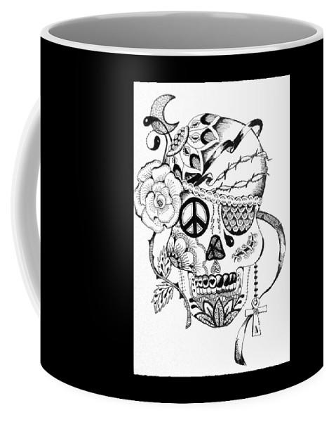 Skull Coffee Mug featuring the drawing Sugar Skull #3 War And Peace by Roseann Amaranto