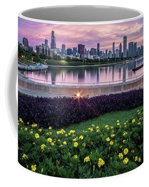 Monroe Harbor Coffee Mug featuring the photograph summer flowers and Chicago skyline by Sven Brogren