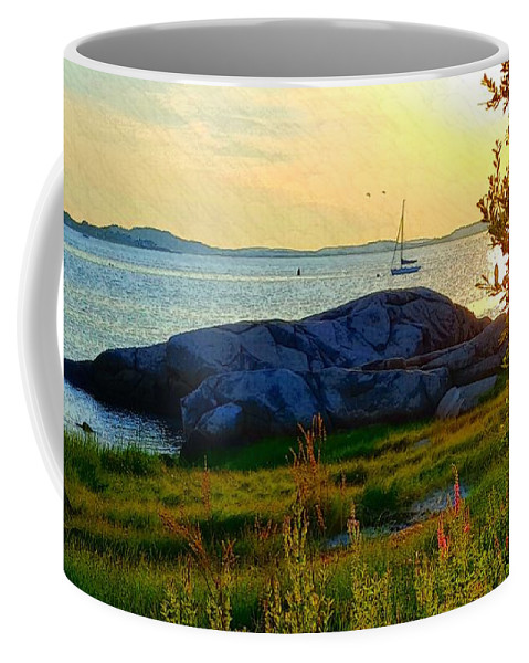 Pale Yellow Sky Coffee Mug featuring the photograph Summer Sunset View by Harriet Harding
