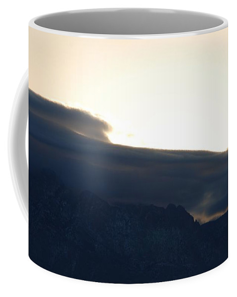 Sunrise Coffee Mug featuring the photograph Sunrise Over The Sandias by Rob Hans