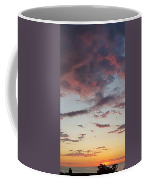 Yellow And Orange Sunlight On Horizon Coffee Mug featuring the photograph Sunrise With Clouds Il by Harriet Harding