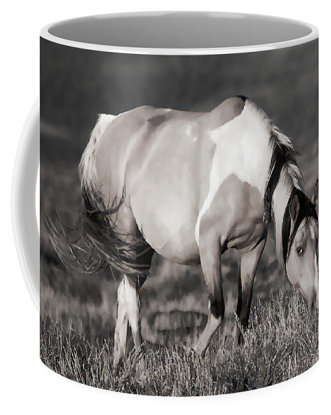 Horses Coffee Mug featuring the photograph Sunset Graze by Athena Mckinzie